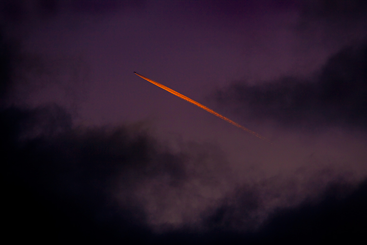 Jet Trail at Sunset : Leamington Hastings : Warwickshire UK