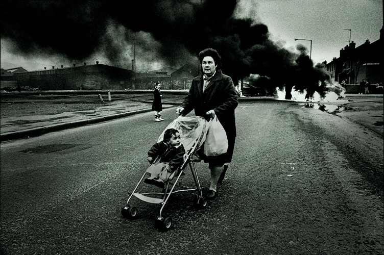 Child in the Pram and Burning Car : Belfast : Northern Ireland