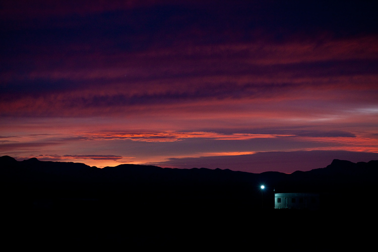 Dawn Security Hut in the Desert : North of Las Cruces : New Mexico
