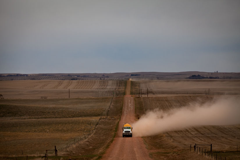 Truck Rolling on an Unmade Road : South Dakota : USA