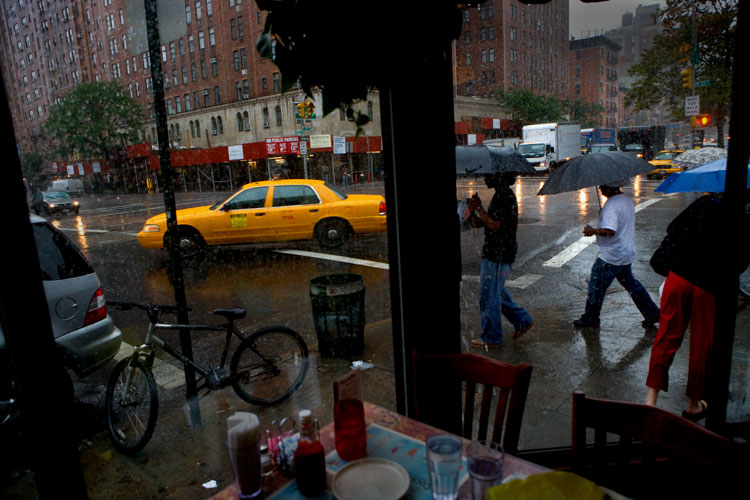 Rain in the City - Umbrellas and Taxis : 23rd and 9th : NYC